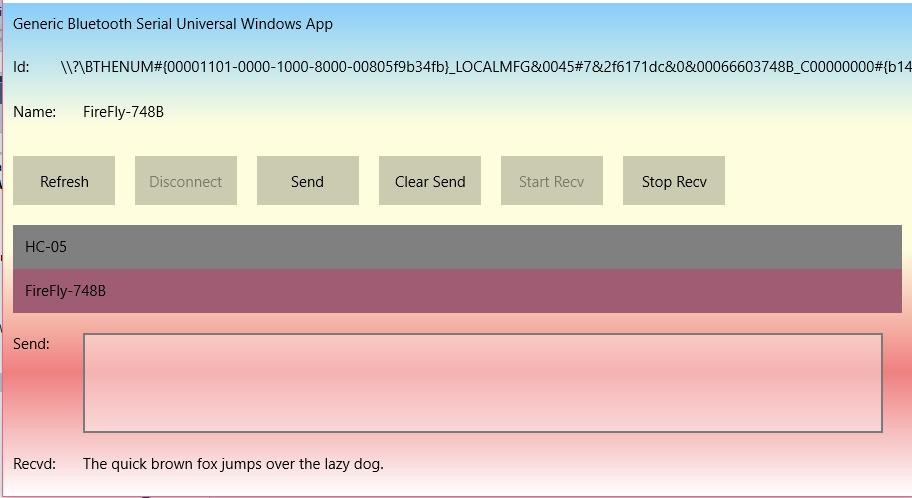 Win 10 IoT-Core: Bluetooth Universal Windows Serial App